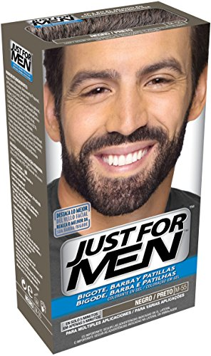 JUST FOR MEN Colorante en gel bigote barba y patillas - Tinte para las canas de la barba para hombres - castaño negro claro - 15 ml