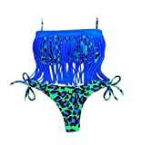OYMMENEY EU 32 (S), Lila Sexy Strand Damen Bandeau Bikini Push Up mit Quaste Set Badeanzug Bademode Tops und Bottoms