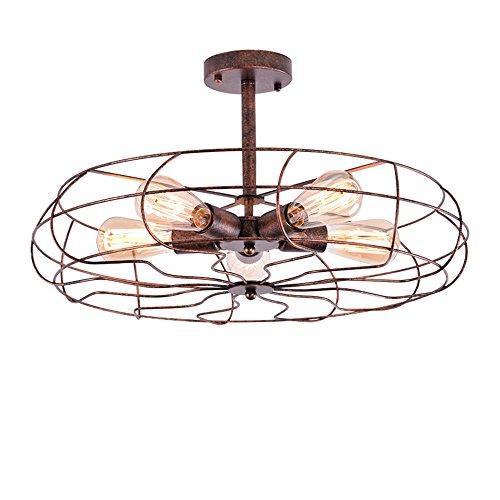 NIUYAO Deckenleuchten Ceiling Light Metall mit Käfig Lampenschirm Beleuchtungs Innenbeleuchtung Style Ventilator Vintage Retro Industrie (5 Licht) (Retro-ventilator)