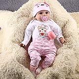 Swiftswan Reborn Puppen, Lebensechte Newborn Realistische 55cm 21.6Inch Vinyl Silikon Ganzkörper Mädchen Puppe Newborn Lebensechte
