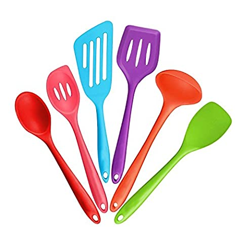 Silicone Cooking Set,includes Turners, Spoons, Spatula & Ladle,Non-Stick Heat Resistant