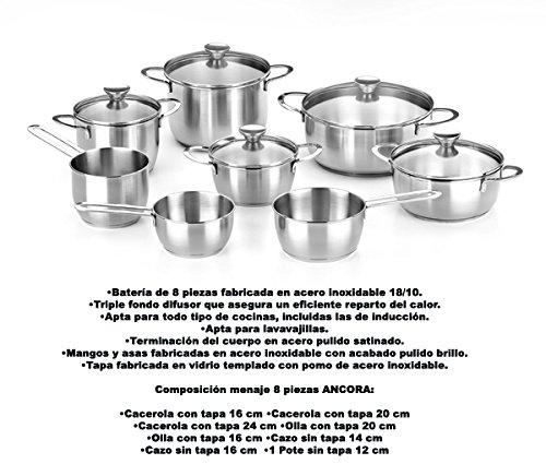 Braisogona Ancora 8 Pieces Stainless Steel Cutlery Set, Silver, 30 x 30 x 30 cm
