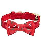 Blueberry Pet Luxuriöses Weihnachtsfest Rentier Hundehalsband mit Abnehmbarer Fliege, S, Hals 23cm-32cm, Verstellbare Halsbänder für Hunde