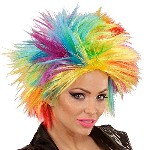 NET TOYS Peluca arcoíris Mujer Pelo Punk Cabello postizo de Color Cabellera Carnaval punkarra Melena roquera Accesorio Disfraz Mujer años 80