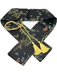 """51""""seda bolsa de espada Katana Wakizashi Tanto japonés Samurai Espada bolsa de transporte con borla de oro, Black Dragon and Phoenix"""