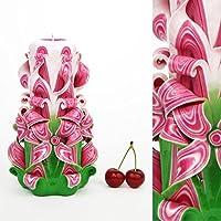 Vela Tallada de Ornamento Hecha a Mano Rosa Verde – Asombrosa para Mamá Mujeres Esposa - EveCandles