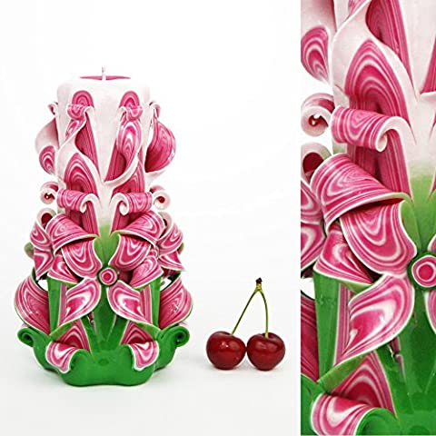 Handgemachte Verzierung Geschnitzte Kerze Rosa Grün - Erstaunlich für Mamma Vati Frauen Männer Ehemann - EveCandles