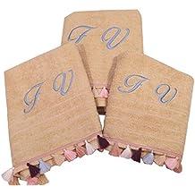Toalla personalizada con ponpones (2 Toallas de mano +toalla de cuerpo)