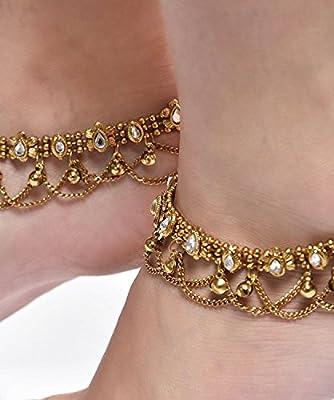 Shining Diva Non Precious Metal Gold Antique Kundan Payal Anklet for Women