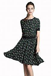 Round Neck Short Sleeve Dog Pattern Print Dress by Good dress