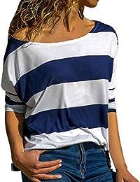 b582823031f2 Janly Frauen Gestreiftes Langarmhemd Top Lose T-Shirt Bluse Frauen Casual  Langarm Gestreiften Top