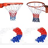 YELOEE 2pcs in Pack 12 Loop Basketball Net Red/White/Blue Nylon for Outdoors or Indoors