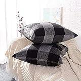 LATTCURE Kissenbezug aus Leinen und Baumwolle Kissenhülle mit Reißverschluss 2er Pack 45x45 cm (Grau+Schwarz)