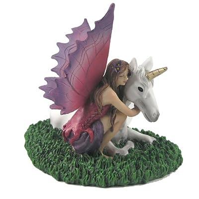 Fairy with Unicorn Fantasy Fairy Nature Figurine