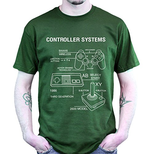 Controller Systems Game Pad Retro Gaming T-shirt Grün