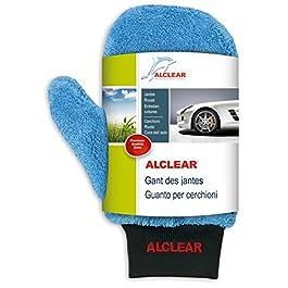 ALCLEAR 950013b Guanto in microfibra per pulizia cerchi di alluminio e manutenzione auto, moto bici, 26×12 cm, senza spazzole, per cerchi di alluminio, acciaio, copricerchi