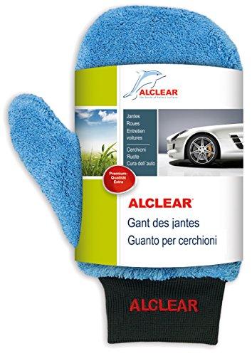 ALCLEAR 950013b Guanto in microfibra per pulizia cerchi di alluminio e manutenzione auto, moto bici, 26x12 cm, senza spazzole, per cerchi di alluminio, acciaio, copricerch