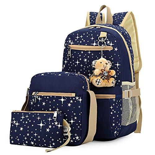 Bolsa de Lona Mochilas Escolares Mochila + Bolso de Bandolera + Billetera + Muñeca Del Oso Para Niñas Adolescentes Azul
