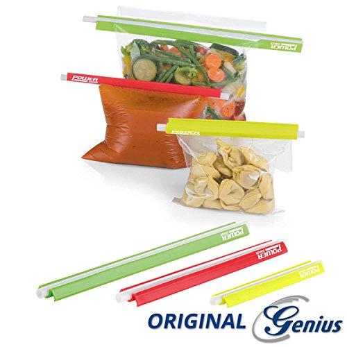 Genius Power Seal Frischhalte-Clips | 6 Teile | Bunt | Verschluss-Klammern für Tüten und Beutel | NEU (Teil Verschluss)