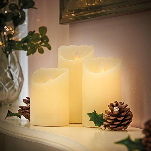 Juego de 3flackernde festiva velas LED de cera, blanco cálido, funciona con pilas, de Festive Lights