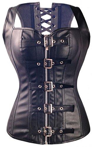 lotus-instyle-bracelet-en-cuir-simili-overbust-corset-zipper-boucles-avant-bustier-3xl
