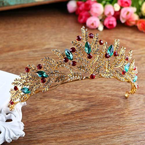 grün rot Kristall Tiara Krone Gold Strass handgemachte Braut Diadem Kopfschmuck Hochzeit Braut Haarschmuck Accessoires SL Erwachsener ()