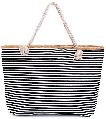 Faera Strandtasche schmales Streifenmuster XXL Shopper Beach Bag mit breiter Kordel Schultertasche, Taschen Farbe:Schwarz (Family Beach Tote)
