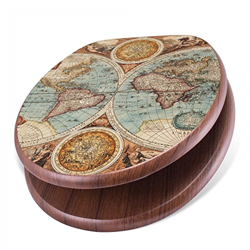 banjado Design Toilettensitz mit Absenkautomatik, WC-Sitz Holz, Klodeckel mit Metall Scharnieren, Toilettendeckel mit Motiv Historische Weltkarte