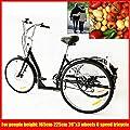 YUNRUX Dreirad mit Warenkorb 3 Rad Erwachsene Fahrrad 26 Zoll 6 Gänge Erwachsenendreirad Dreirad für Erwachsene
