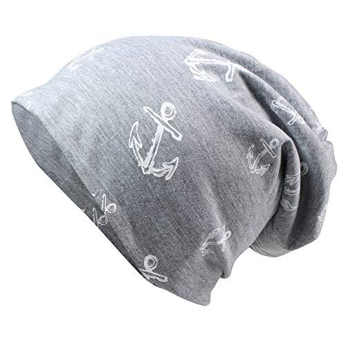 Glamexx24 Neue Kollektion Long Beanie Mütze Mit Anker Muster bequem zu tragen, Grau, Einheitsgröße