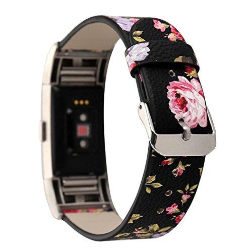 HKFV Uhrarmband Armband UhrenarmbandMuster Lederband Ersatz Uhrenarmband für Fitbit Charge 2 Laden Sie 2 neue Abschnitte floral Lederband Uhrenarmband (A) (Austauschbare Uhrenarmbänder)