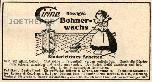 1925 - Inserat / Anzeige: CIRINE / FLÜSSIGES BOHNERWACHS - Grösse : ca. 80 x 40 Millimeter - alte Werbung / Originalwerbung/ Printwerbung / Anzeigenwerbung / Advertisement (Flüssige Anzeige)
