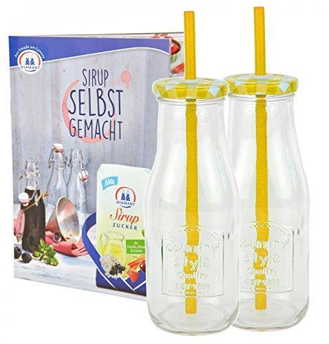 Set di 2Bottiglia in vetro con coperchio e cannuccia con quaderno per ricette-giallo a quadretti-400ml borraccia/bicchiere con rilievo-per succhi, frullati e altre bevande