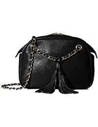 Zenith Leather Tassel Chain Convertible Crossbody, Black