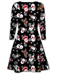 c8dfafbe7594c Womens Christmas Swing Dress Girls Gift Candy Ladies Gingerbread Snowman  Smock Reindeer Skater Mini Dress Size