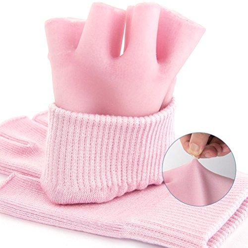 Frcolor Spa feuchtigkeitsspendende Handschuhe, halbe Finger Touch Baumwolle feuchtigkeitsspendende Spa Handschuhe Hand Behandlung Gel Lining infundiert (Pink)