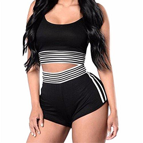 Italily - monopezzi e tutine,tuta sportiva a righe da donna sexy a righe con pantaloncini sportivi a pezzi (black, s)