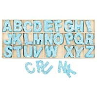 Kleenes Traumhandel Wooden box of Letters blue - 5.4 cm high - 4 wooden letters each - 104 pieces