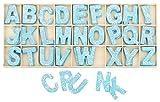 Buchstabenkasten Holz Blau - 5,4 cm hoch - je 4 hölzerne Buchstaben - 104 Teile
