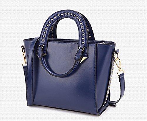 Composito XinMaoYuan Vacchetta Borsette femmina Hit Colore Sezione pacchetto Platinum di colore solido sacchetto zipper,Nero Blue