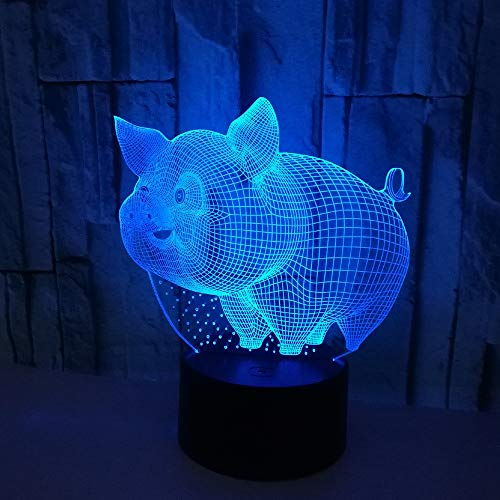 PDDXBB USB 3D Nachtlicht Nachtlicht Kid Control Magnificent Schwein Form Panel Acryl Tischlampe Baby Sieben Farbe 87X87X42Mm Polaroid 19