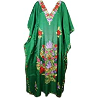 Mogul Interior Womens Kaftan Maxi Dress Green Floral Embellished Silk Caftan One Size