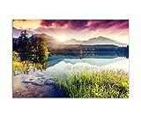 120x80cm - Fotodruck auf Leinwand und Rahmen Berge See Landschaft Natur Sonne Wolken - Leinwandbild auf Keilrahmen modern stilvoll - Bilder und Dekoration