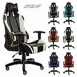 Pro Racing Bürostuhl F1x, Gaming Stuhl, Chefsessel mit Armlehnen, Gaslift SGS geprüft, Wippfunktion, 6 Farbvarianten (weiss)