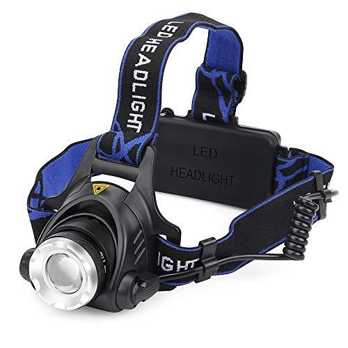 Siphly LED Stirnlampe, LED Kopflampe, LE Superheller, Super Bright LED 4 Helligkeits-Modi, 90 Grad Winkeleinstellung und Lichtfokus mit Zwei Wiederaufladbare Akkus für Wandern, Camping, Ausflug