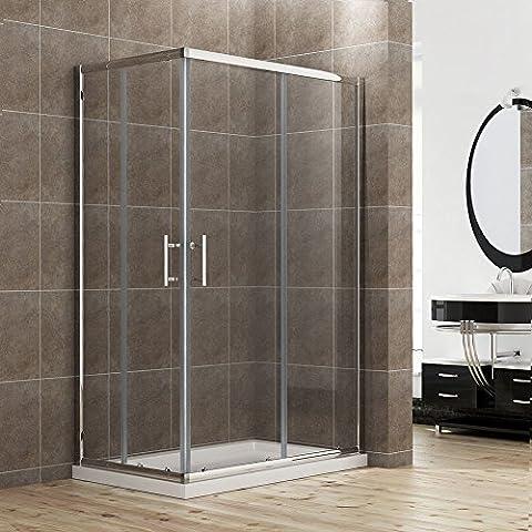 Duschkabine/Duschabtrennung 120x80cm Eckeinstieg Doppel Schiebetür Echtglas