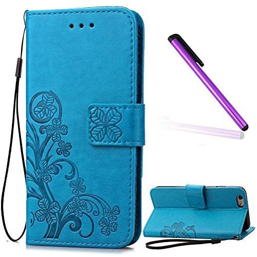 Justin Brown Wallet (iPhone 6Plus Case iPhone 6S Plus Fall emaxeler stylische Wallet Case Ständer Flip Case Karten Slot Cash Taschen PU Flip Wallet Schutzhülle aus Leder mit Standfunktion für iPhone 6S Plus, Clover: Blue)