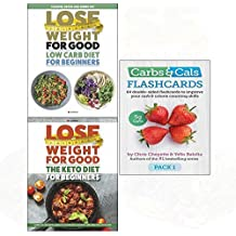 Carbs & cals flashcards pack 1[cards], low carb diet, keto diet for beginners 3 books collection set