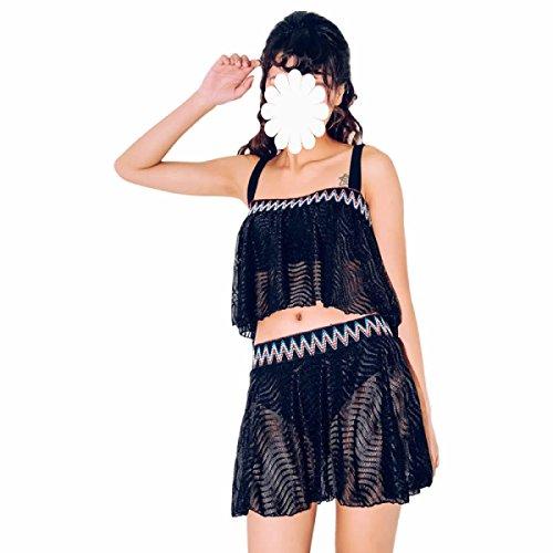 GEXING Signora Costume Da Bagno Spiaggia Gonna Bikini In Stile Maglia Ruches Il Nero Il Ricamo Black