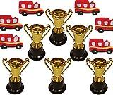 KSS 6 X Feuerwehr Radiergummi und 6 große Pokale Kindergeburtstag , Tombola , Party , Feier , Mitgebsel